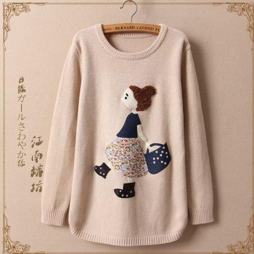 Harajuku Mori Girl Sweet Cartoon Pattern Sweater