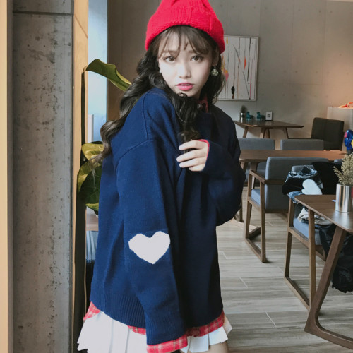 Autumn new Korean winter ulzzang fashion heart-shaped pullover O-neck loose casual sweater chic Harajuku Japanese women sweater