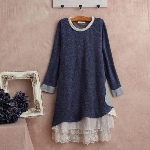 Harajuku Vintage Knitted Retro Cotoon Blue Long Dress