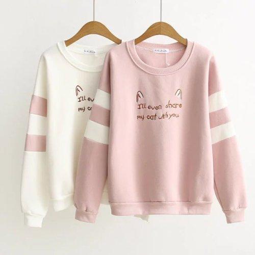 Harajuku Sweet Cartoon Cat Ears Embroidered Warm Sweatshirt