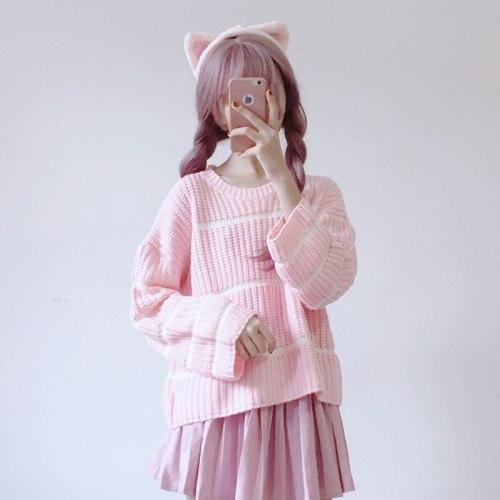 Sweet Cute Girls Knitted Sweater Striped Long Flare Sleeve Sweater