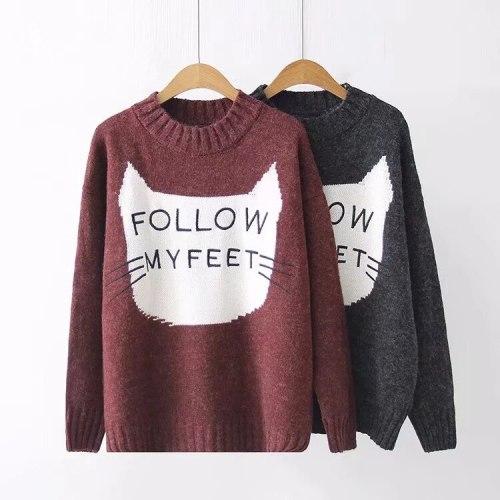Harajuku Letter Follow My Feet Cat Jacquard Knitted Long Sweater