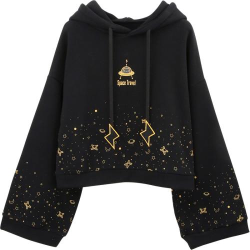 Harajuku Space Travel Bell Sleeve Winter Sweatshirt