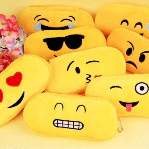 Funny Emoji Pencil Case Cartoon Face Expression Plush Pencil Bag