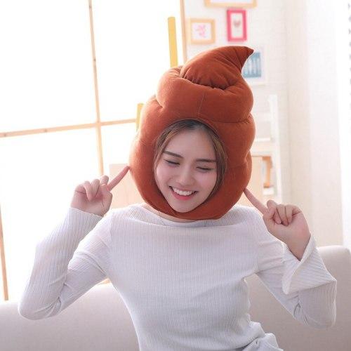 New Shit Shape Hat Costumes Props Plush Toy Fake Poop Turd Classic Head Shit Gag Funny Joke Toys Gag Gift
