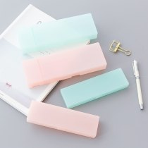 Cute Kawaii Simple Transparent PP Plastic Pencil Case Lovely Pen Box For Kids Gift Office School Supplies Materials Student