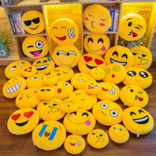 New Smiley Face Emoji Pillows Soft Plush Emoticon Round Cushion Home Decor Cute Cartoon Toy Doll Decorative Throw Pillows 40