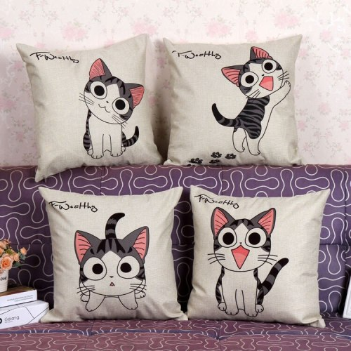 Home Cushions Cartoon Cute Cat Animals Linen Throw Pillows Car Decor Cushion