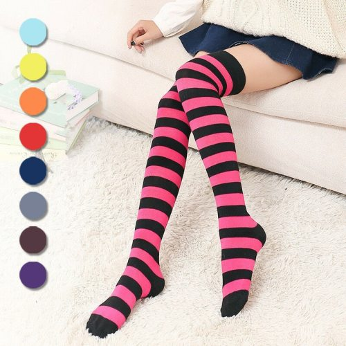 Women Girl Striped Thigh High Stockings Plus Size Over The Knee Socks