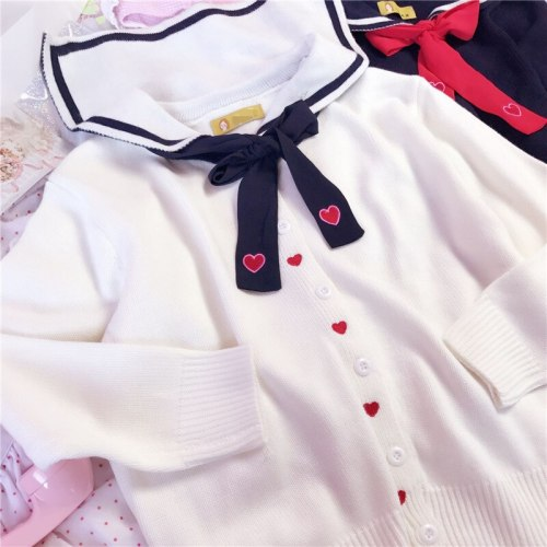 Navy blue Knitwear Sweet Heart Embroidery Sailor Collar Cardigans