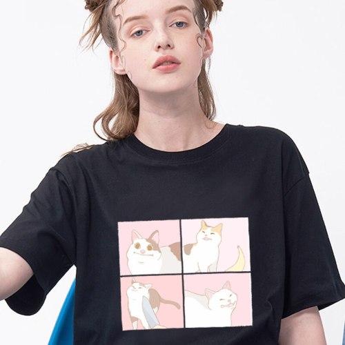 female cartoon cat tops t-shirt sleeve casual Ulzzang kawaii harajuku for girl