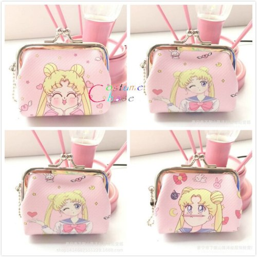 Anime Sailor Moon Cosplay Pink Mini Wallet Key Bag