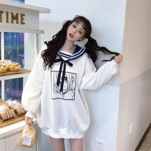 Navy collar Cute Harajuku Cartoon Print Pullovers Long Sweatshirts