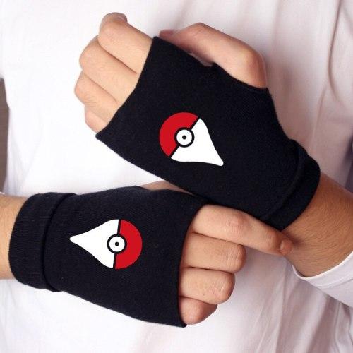 Anime Pokemon Go Pocket Monster Gloves Knitting Warm Half Finger Wrist Mittens