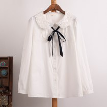 Sweet Cute peter pan collar Blouse Cotton casual shirt Lace collar bow full sleeve shirts
