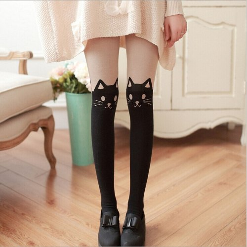 Autum New Women Black Cat Tail Cartoon Cotton Fake Stockings Skin Color Lovely Lolita Cute Tights Harajuku Girl's Pantyhose