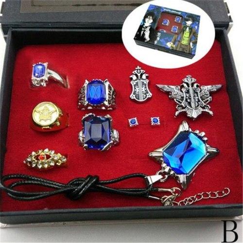 Black butler Kuroshitsuji Ciel Phantomhive Cosplay Rings+ Necklace+Ear-nail earring studs Jewelry Set A612