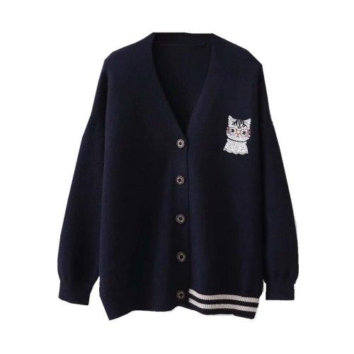 Cat Embroidery Cute Sweaters Kawaii Cartoon Lovely Cardigan