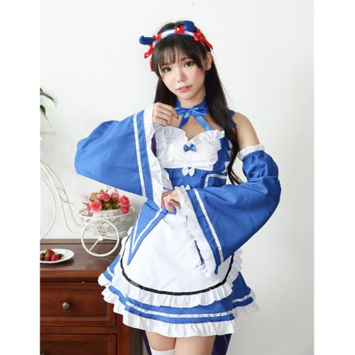 Re:zero Cosplay Costume Maid Servant Dress wig