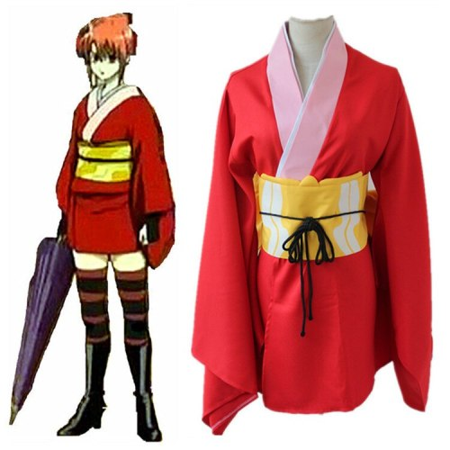 Kagura Wig Cosplay GINTAMA Leader Kagura Kimono Uniform