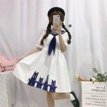 Cat Dress Loose Sailor Colar Dress