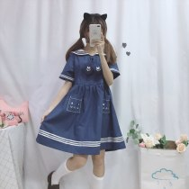 Cat Embroidery Dress Loose Sailor Colar Dress