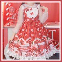 Lolita Cute Cherry JSK Strap Dress