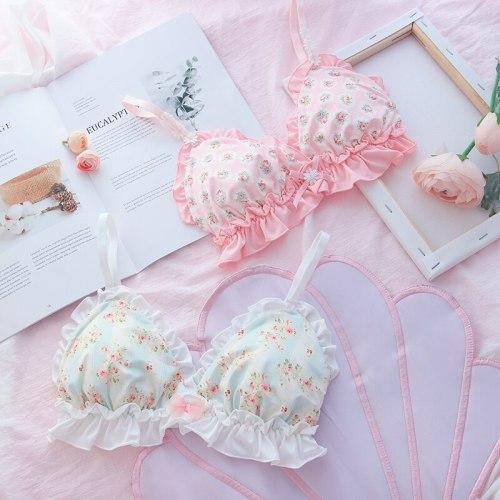 Floral Print Lace Ruffle Trim Underwear