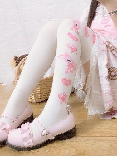 Anime Lolita Cute Little Fawn Printed Knee-high Stockings Cotton Tights Sweet Women High Socks Cosplay thigh high socks Autumn