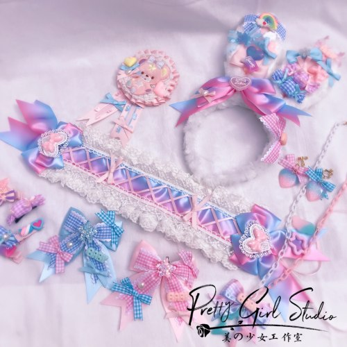Kawaii Dream Princess Pink Blue Lolita Candy Bow Rabbit Ear Hairpin KC Headband Sweet Soft Girl Cosplay Lace Hairband Headwear