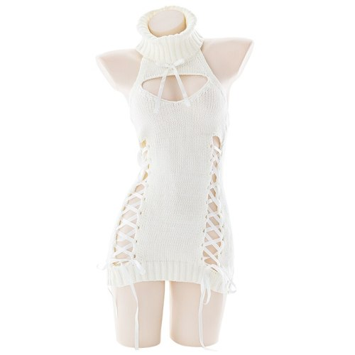 White Sheep Rabbit Backless Knitted Sweater