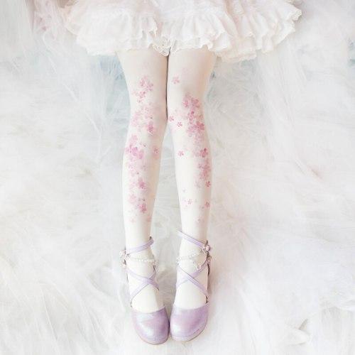 Ancient Customs Lolita Sakura Pattern Printed Thin Leggings Mori Girl Daily Pantynose Stockings Tights Socks Accessories