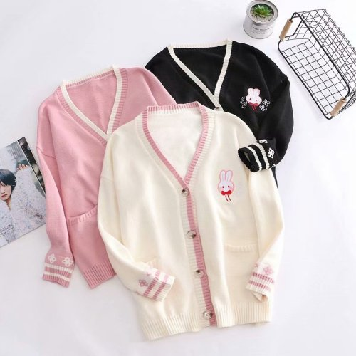 Bunny Embroidery Knitted Sweater Long Sleeve