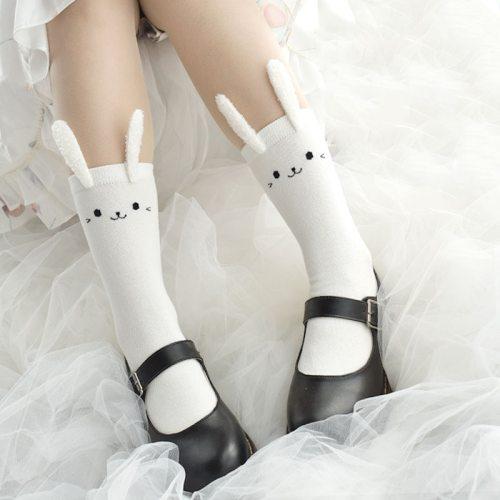 Rabbit Ears Black White Cotton Middle Stockings
