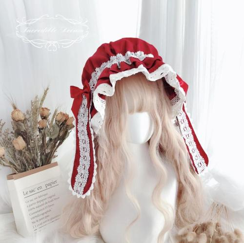 Kawaii Lolita Handmade Pure Cotton Lace Bowknot BB Hat Nightcap Matched With Babaydoll Cosplay Lovely Rabbit Ears Cap Headwear