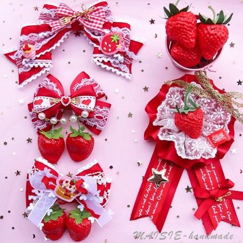Super Cute Strawberry Bow Hairpin Sweet Lolita Soft Sister Brooch KC Lace Hair Accessories Side Clip Cosplay Kawaii Headwear
