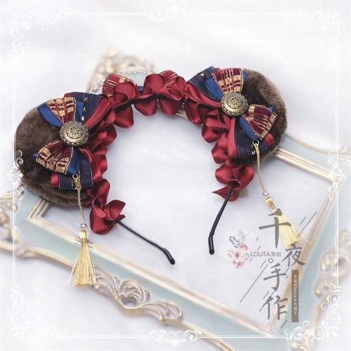 Retro Sweet Lolita Bear Ears Bowknot handmade Headband Hair Accessories Kawaii Japanese Women's Cosplay KC Hair clasp Headwear