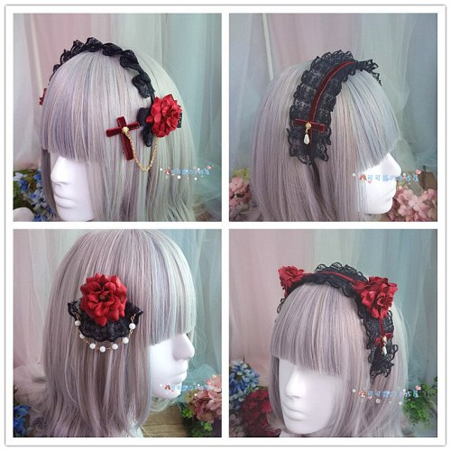 Gothic Lolita Campire Red Rose hairpin Bow Lace Headwear Ornament Cosplay maid Hand band Comic con Hair accessories
