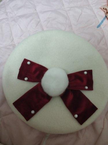 Super Kawaii Big Velvet Bowknot White Beret Pearl Trim Plush Venonat Japanese Women's Sweet Lolita Fall Winter Warm Hat