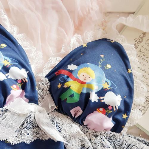 Japanese Soft Girl Kawaii Little Prince Ruffles Lace Underwear Set Sexy Sweet Lolita No rims Bra & Panties Lingerie Set