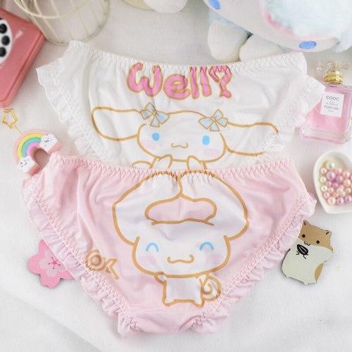 Japanese Soft Girl Cute Big Ears Rabbit Printing Cartoon Milk Silk Panties Sweet Lolita Ruffles Low Waist Briefs Underwear