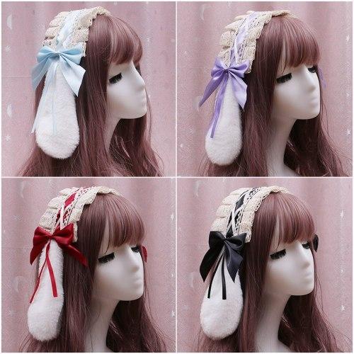 Japanese Lolita Cute Plush Rabbit Ear Hair Band Anime Soft Girl Cosplay Maid Lace Bow Hairpin Headwear Hair Ornaments Props