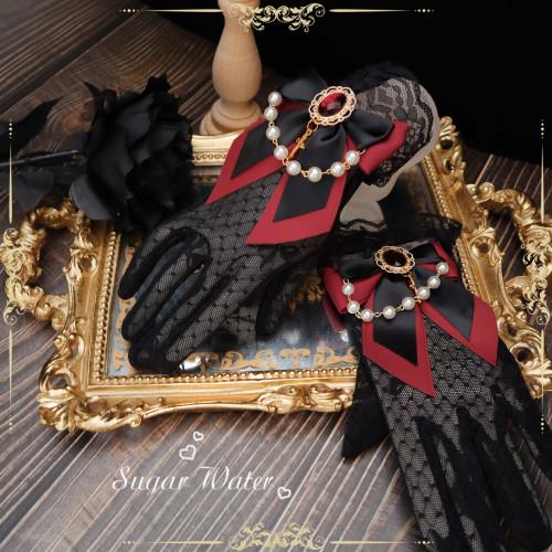 Vinatge Gothic Tea Party Sweet Lolita Gloves Gorgeous Elegant Bride Wedding Bow Lace HAND CUFF Gloves Princess Accessories