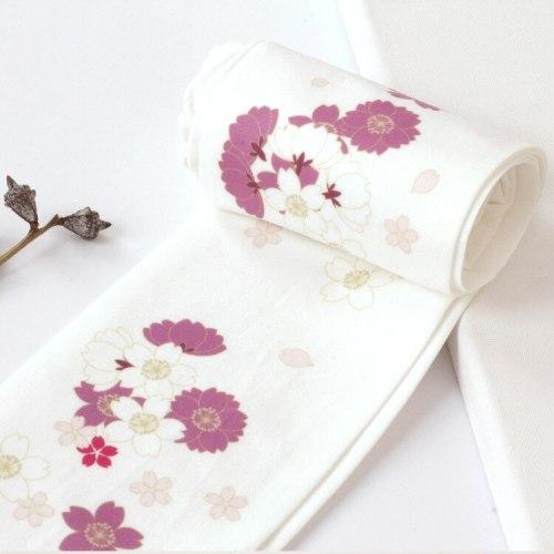 Vintage Lolita Sakura Pattern Printed Thin Pantynose Japanese Mori Girl Daily Stockings Tights Socks Cosplay Accessories