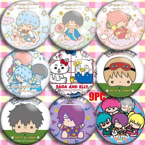 Japan Anime GINTAMA Sakata Gintoki Kagura Sadaharu Cosplay Bedge Cartoon Collect Bags Badges For Backpack Button Brooch Pin Gift
