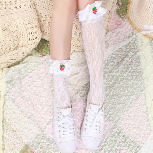 Kawaii Sweet Lolita Lace Ruffle Knee-High Socks Strawberry Bow Pile of Socks Summer Teen Girl Cosplay Uniform legs stockings