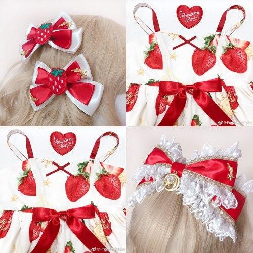 Lolita Bow Lace Hair Clasp Hairpin Sweet Women Star Moon Strawberry Headwear Japanese Head band Hair Accessories hair band