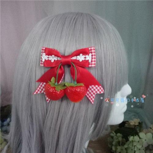 Nice Japanese Lolita Women's Korean Kawaii Strawberry Bowknot Hair Pin Headwear Cosplay Hair Accessories Side clip