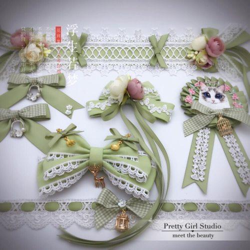 Mori Girl Vintage Lolita KC Hair Band Hairpin Hair Accessories Kawaii Princess Lace Bow Ribbon Headwear Hair clip Tea Party