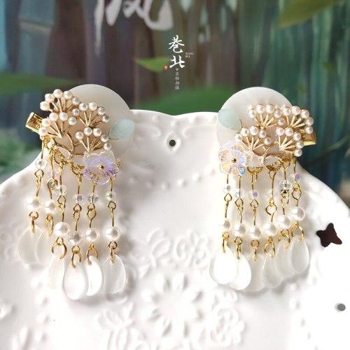 Antique hanfu Hair Accessories Cute Seashell Hairpin Chinese Young Girl Handmade Kanzashi Classical Tassel Cheongsam Hair Clip
